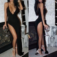 Women Sexy Summer Dress Backless Maxi Long Evening Party Dress Beach Sundress