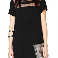 Black Chiffon Dress With Transparent Details