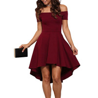 Women Sexy Solid Color Fashion boat neck strapless Short Sleeve Mini Dress
