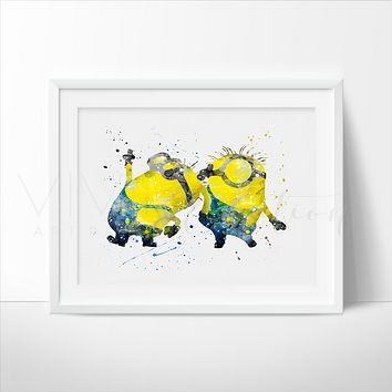 Minions Watercolor Art Print
