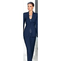 Jacket and Pants Navy Blue Two Button Women Business Suits
