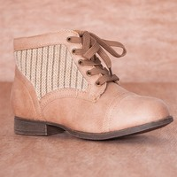 Refresh Cozy Crew Knit Sweater Panel Lace Up Boots Libby-09 - Camel