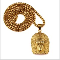 NEW New Style Indian Chief Pendant Necklace Hip Hop Style 70CM Long Chain Men's Necklace Jewelry