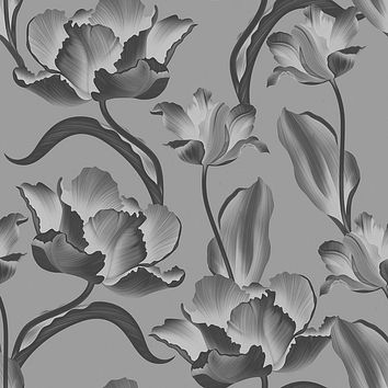 Graphite Blossoms Removable Wallpaper
