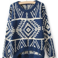 Blue Long Sleeve Geometric Asymmetrical Sweater