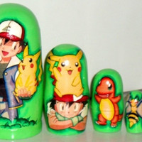 Matreshka Pokemon traditional russian nesting doll decorative collectible toy made curved painted by hand holiday birthday gift souvenir