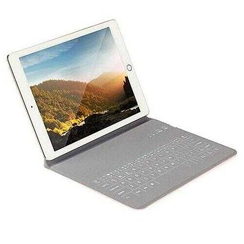 Ultra Thin Apple iPad Case With Touch Sensor Surface Keyboard And Stand -Size: iPAD Air 1/2/3, Color: Silver
