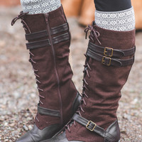 Running Into Town Tall Lace Up Boots-Brown