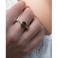 Dercy Square Ring * Smoky quartz *  Silver Plated * BJR167