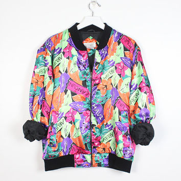 Vintage 90s Bomber Jacket Bright Rainbow Leaf Floral Neon Vacation Novelty Print Poly Satin 1990s Track Jacket Slouchy Windbreaker L Large