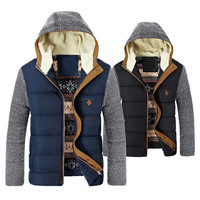 Men's Fashion Winter Jackets with Cotton Thicken Hooded Covered Button Zipper Long Sleeve Slim Europe and America Outdoor Casual Solid Coats