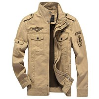NEW Mens Green Khaki 3 colors Military jacket winter Cargo Casual man Jackets Army clothes brand