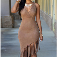 Brown Sleeveless Fringed Asymmetrical Suede Dress