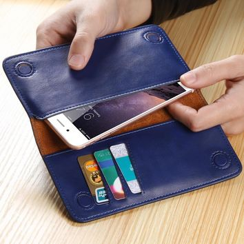 Leather Wallet Purse Universal Case For iPhone 7 6 6s Plus for Galaxy S7 S6 with Card Slot Full Protective Cover by FLOVEME