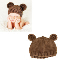 Cute Crochet Newborn Bear Hat Baby Boy Girl Pography Props Handmade Knitted Infant Animal Hats