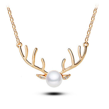 Gold Big Reindeer Horn Fake Pearl Necklace