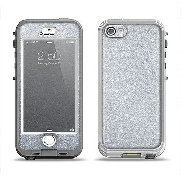 The Silver Sparkly Glitter Ultra Metallic Apple iPhone 5-5s LifeProof Nuud Case Skin Set