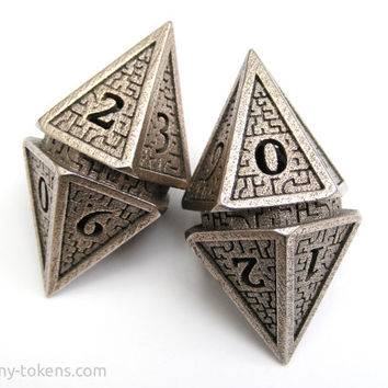 Large D10 'Hedron' Spindown Life Counter Die for MTG - Balanced Stainless Steel Dice