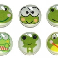 6 Pieces Green Froggy Frog Frogs 3D Semi-Circular Home Button Stickers for iPhone 5 4/4s 3GS 3G, iPad 2, iPad Mini, iTouch