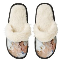 Upload your own Image Wedding Fuzzy Slippers