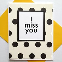 I Miss You Handmade Note Card (Blank Inside) - Choose from Polka Dot or Stripes Background - Valentine's Day, Thinking of You greeting card