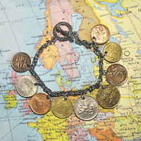 Up-cycled, Re-purposed Coin Bracelet - World Coins Bracelet, 9 coins bracelet