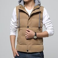 Casual Men Vest Men Slim Fit 2017 Hot Sale Waistcoat Hat Detachable Hooded Winter Warm Windbreak Khaki Men Vest M- 4XL 4 Colors