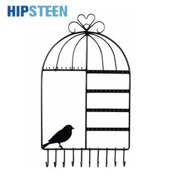HIPSTEEN Wall Mount Birdcage Shaped Earrings Necklace Bracelet Stand Holder Hanger Organizer Neck Jewelry Easel Showcase Display