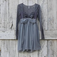 Shades of Grey Dress upcycled lace party dress eco Free People ballet babydoll gray dress