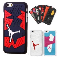 For Iphone 6 6s Phone Case 3D Jordan Capa Sport Basketball Plastic+Silicone Phone Back Cover Case for iphone 6 plus 6plus