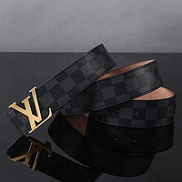 Louis Vuitton LV classic all-match smooth buckle belt for men and women