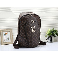 LV Louis Vuitton Fashion Woman Men Leather Travel Bookbag Shoulder Bag Backpack Coffee LV Print