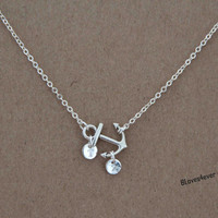 initials necklace,anchor necklace,bridal bridesmaids wedding gift,personalized love gift,besties sisiters gift
