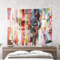 Wall Tapestry With Grungy Skull Artwork Print, Original Art, Wall Art, Wall Decor, Modern Art, Dorm Decor, Colorful, Rugged Art, Cool Gifts