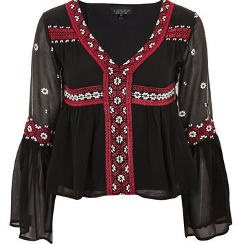 Embroidered Flute Sleeve Top - Clothing
