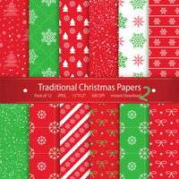 Christmas Digital Paper: Traditional Christmas Papers 2 Instant Download Printable Scrapbooking Collection -Snowflakes Bow Stars