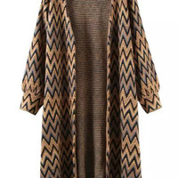 Khaki Black Long Sleeve Zigzag Knit Cardigan