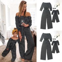 Off Shoulder Striped Long Sleeve Cute Mom And Daughter Outfits