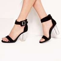 Missguided - Perspex Barely There Block Heels Black