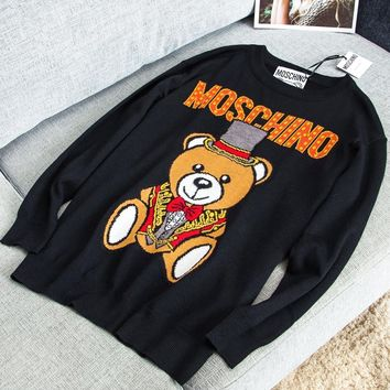 Moschino New fashion letter bear print long sleeve sweater Black