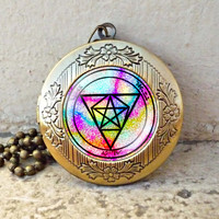 The Seal of the Sorcerer vintage pendant locket necklace - ready for gifting