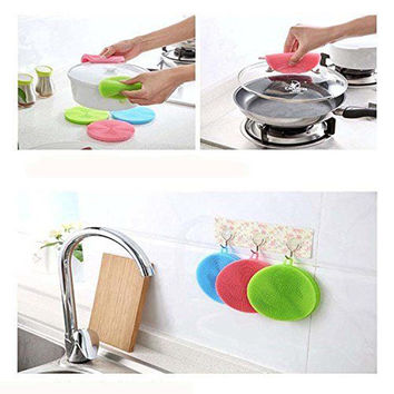 Silicone Dish Washing Sponge Scrubbers Practical Vegetable Washing Pad Kitchen Cleaning Mat Washing Tools