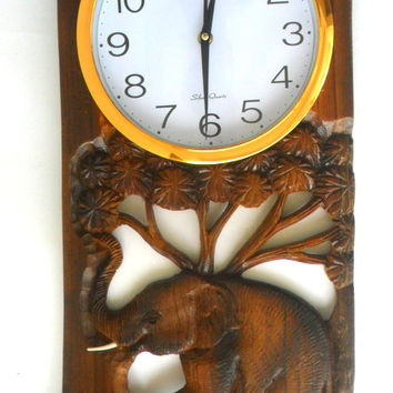 """Teak Wood Carving Elephant With Clock Home Wall Hanging Home Art  Decor Hand Carved 24.5""""x10.5"""""""