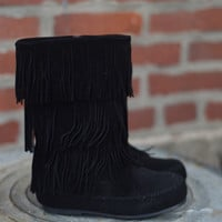 Girls 3 Layer Fringe Boot by Pierre Dumas {Black Suede}