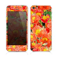The Red and Yellow Watercolor Flowers Skin for the Apple iPhone 5s