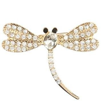 Pave Crystal Stone Metal Dragonfly Pin And Brooch