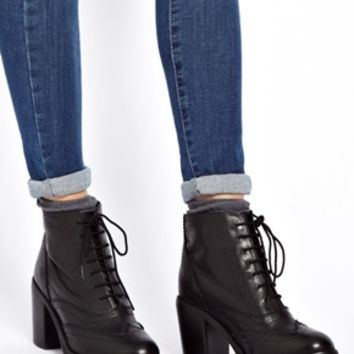 ASOS ANYWAY Leather Brogue Ankle Boots