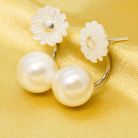 Sweet cute shell pearl flower 925 sterling silver earrings, a perfect gift