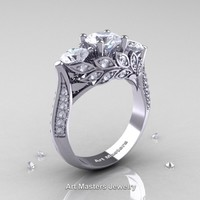 Nature Classic 14K White Gold Three Stone White Sapphire Diamond Laurel Leaf Engagement Ring R800-14KWGDWS