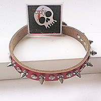 Studded Spiked Genuine Leather Dog Collar with Rhinestone Detail - Medium - Red - Soft Brown